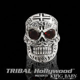 CHOSEN RED GARNET EYED DAY OF THE DEAD SKULL Sterling Silver Mens Ring by King Baby