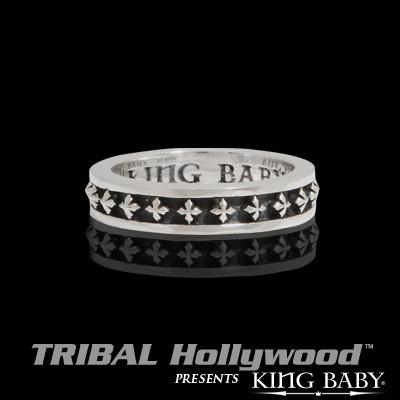 MB CROSS Stackable Sterling Silver Ring by King Baby