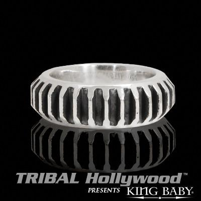 GEAR RING MEDIUM Sterling Silver Mens King Baby Ring