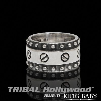 FLAT SCREW RING Sterling Silver Mens Industrial Ring by King Baby