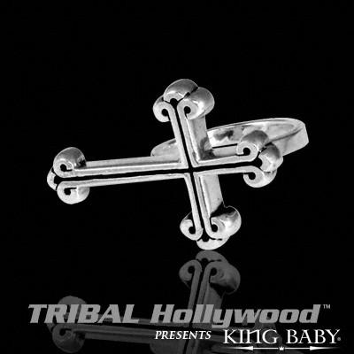TRADITIONAL CROSS Mens Two Finger Ring by King Baby
