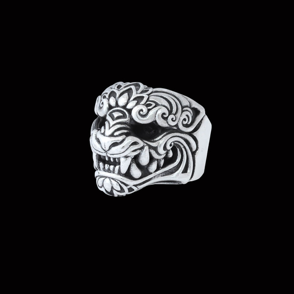 ONI MASK RING for Men in Sterling Silver by King Baby Studio