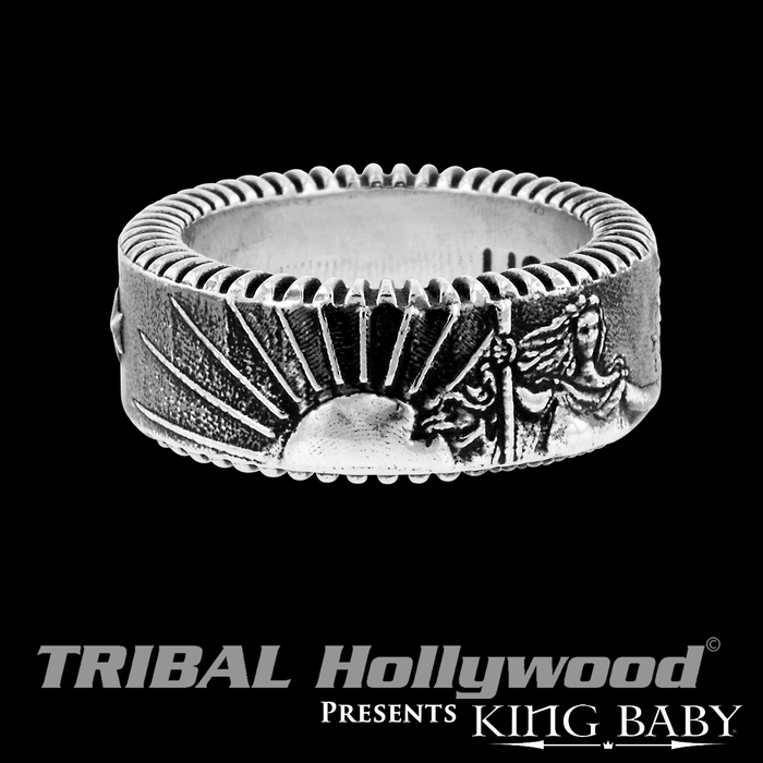 THE LIBERTY RING Sterling Silver Mens Band Ring by King Baby