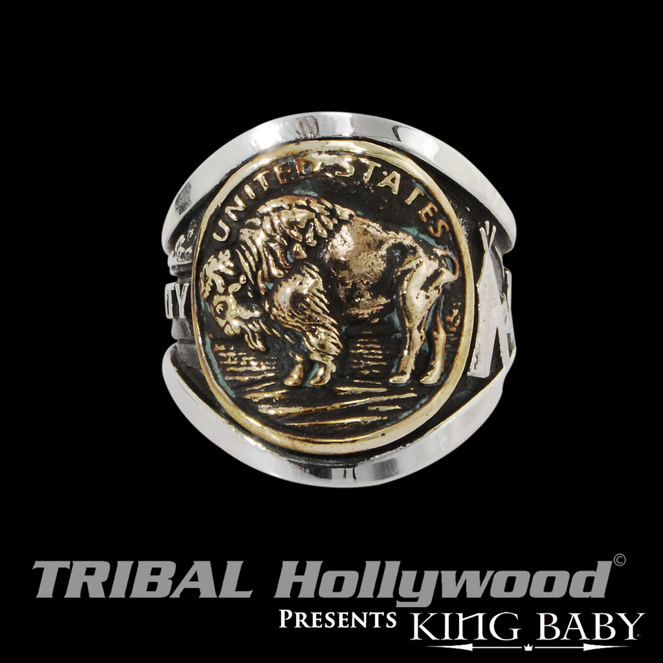 BUFFALO NICKEL RING Silver and Gold Alloy Ring for Men by