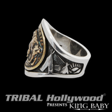 BUFFALO NICKEL RING Silver and Gold Alloy Mens Ring by King Baby