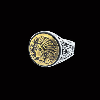 LIBERTY HEADDRESS RING Mens Silver and Brass Ring by King Baby