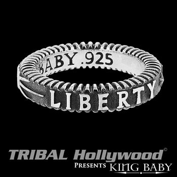LIBERTY THIN WIDTH RING Stackable Silver King Baby Mens Ring