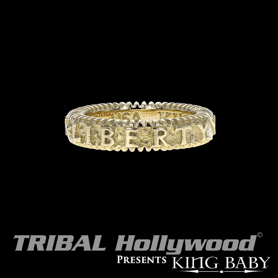GOLD LIBERTY THIN WIDTH RING Stackable King Baby Mens Ring
