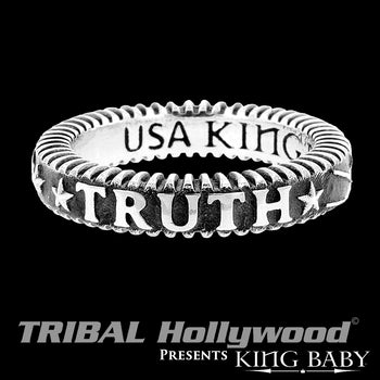 TRUTH THIN WIDTH RING Stackable Silver King Baby Mens Ring