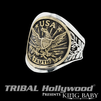 THE AMERICAN EAGLE Gold and Silver Mens Ring by King Baby