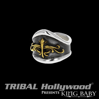 SCROLL SHIELD RING for Men in Sterling Silver by King Baby Studio