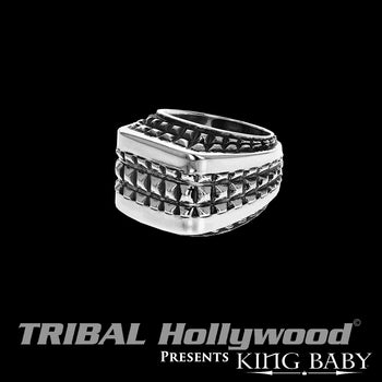 SQUARED RIVET RING Sterling Silver King Baby Ring for Men