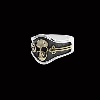 BRASS SKULL CIGAR BAND RING for Men in Silver by King Baby Studio