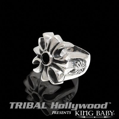 ONYX GOTHIC IRON CROSS Sterling Silver Ring by King Baby