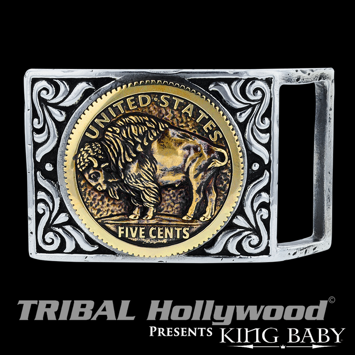 GOLD BUFFALO NICKEL Mens Belt Buckle Silver & Gold Alloy by King Baby