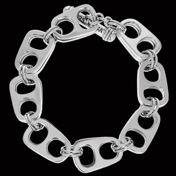 King Baby POP TOP LARGE Sterling Silver Beer Tab Mens Link Bracelet