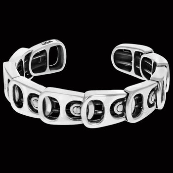 King Baby POP TOP LAYERED CUFF Silver Beer Tab Mens Link Bracelet
