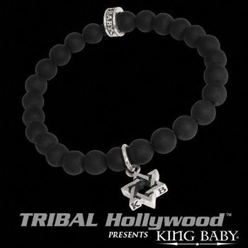 STAR OF DAVID Black Onyx Bead Bracelet by King Baby