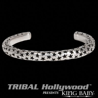 SEEING STARS Thin Width Silver Cuff Bracelet by King Baby