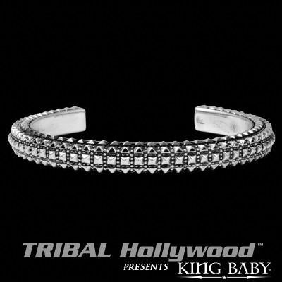 PYRAMID STUDDED Mens Sterling Silver Cuff Bracelet by King Baby