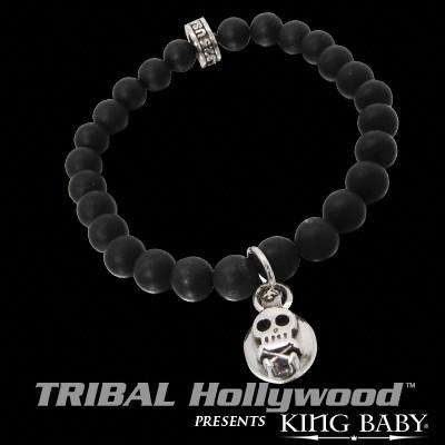 SKULL & CROSSBONES BUTTON Black Onyx Bead Bracelet by King Baby