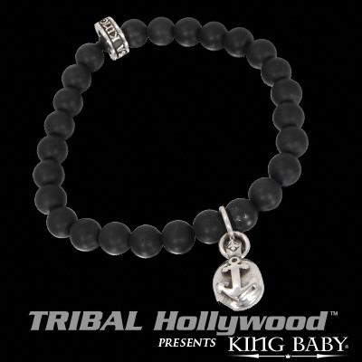 ANCHOR BUTTON Black Onyx Bead Bracelet by King Baby