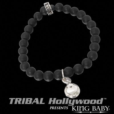 CROWNED HEART BUTTON Black Onyx Bead Bracelet by King Baby