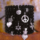 STAR BUTTON Black Onyx Bead Bracelet by King Baby