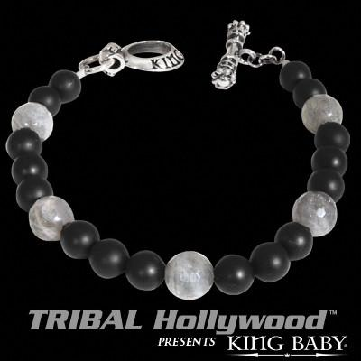 SMOKEY QUARTZ Black Onyx Bead Bracelet by King Baby