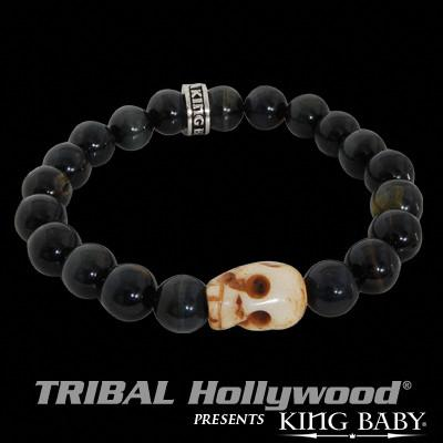 BONE SKULL Blue Tiger Eye Beaded Bracelet by King Baby Studio