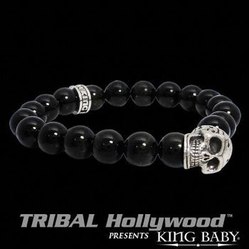DAY OF THE DEAD SKULL Midnight Blue Hawk's Eye Bead Bracelet by King Baby Studio