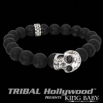 DAY OF THE DEAD SKULL Black Onyx Bead Bracelet by King Baby
