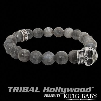 DAY OF THE DEAD SKULL Labradorite Stone Bead Bracelet by King Baby Studio