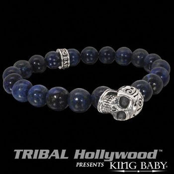 DAY OF THE DEAD SKULL Lapis Bead Bracelet by King Baby