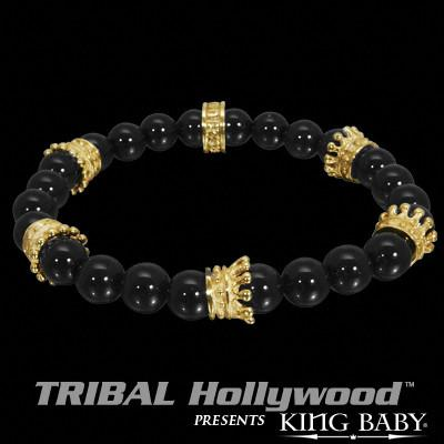 GOLD CROWN 18K Vermeil Polished Black Onyx Bead Bracelet by King Baby