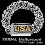 USA STAR LINK BRACELET for Men in Sterling Silver by King Baby Studio