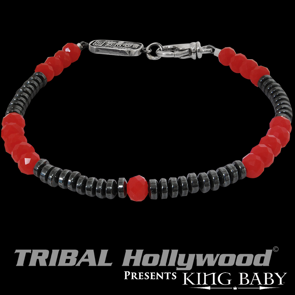 RED GLASS AND HEMATITE BEAD Bracelet for Men by King Baby
