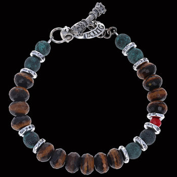 CERAMIC AND TIGER EYE Bead Bracelet with Crystal Bead by King Baby