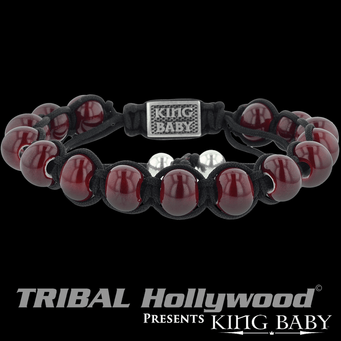 CERAMIC BRACELET King Baby Red Bead Bracelet with Black Macrame Cord