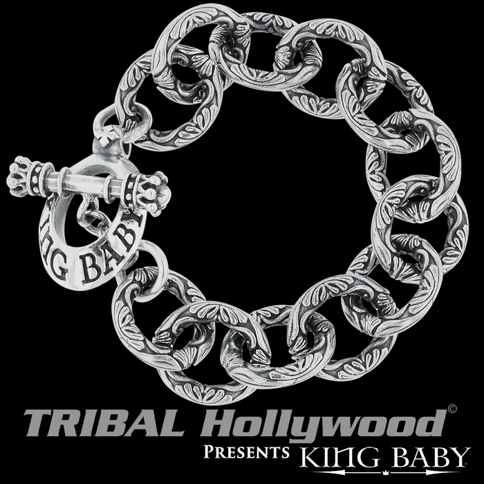 SCROLLWORK LINK BRACELET King Baby Silver Curb Chain Bracelet for Men