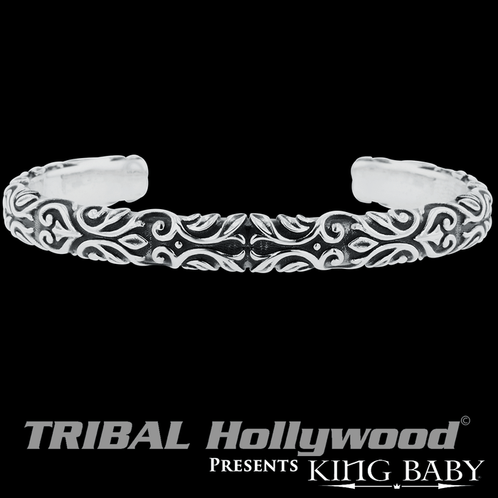 SCROLLWORK CUFF Bracelet for Men in Silver by King Baby