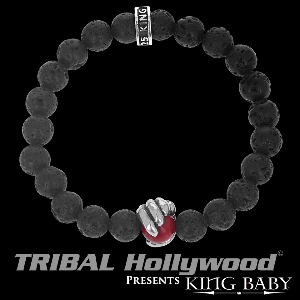 RED CORAL SCROLL Lava Bead Bracelet for Men by King Baby