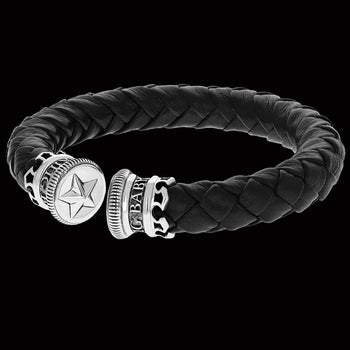 LEATHER STAR CUFF Bracelet for Men with King Baby Sterling Silver