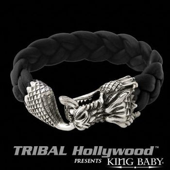 DRAGON Large Braided Leather Bracelet with Silver Dragon by King Baby