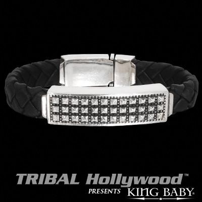 King Baby PYRAMID STUDDED Sterling Silver and Leather Mens ID Bracelet
