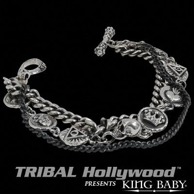 King Baby VINTAGE COINS DOUBLE STRAND Sterling Silver Mens Bracelet