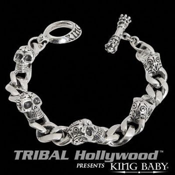 INTEGRATED DAY OF THE DEAD SKULL Sterling Silver Curb Link Bracelet by King Baby