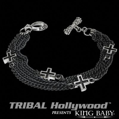 FOUR CHAIN ANCIENT CROSS Sterling Silver Link Bracelet by King Baby