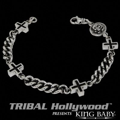INTEGRATED ANCIENT CROSS Sterling Silver Curb Link Bracelet by King Baby