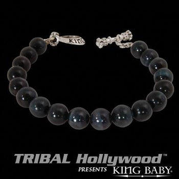 DARK BLUE TIGERS EYE Beaded Bracelet by King Baby Studio